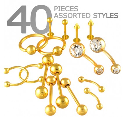 Orted Gold Pvd Body Jewelry Contains 40pcs For Just 55 Cents Each