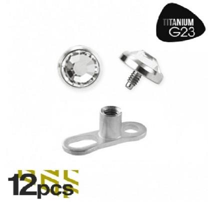 G23 Titanium 4mm Flaming Skull Logo Internally Threaded Dermal Anchor Top