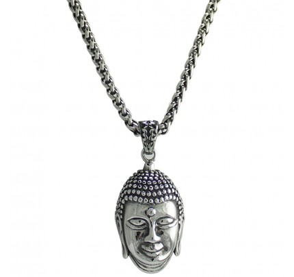 Chain w pendants necklaces wholesale stainless steel jewelry stainless steel silver buddha necklace mozeypictures Gallery